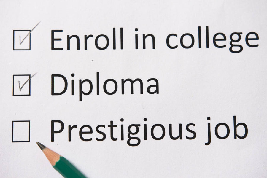 Piece of paper that says go to college, get diploma, find good job with a pencil in the corner